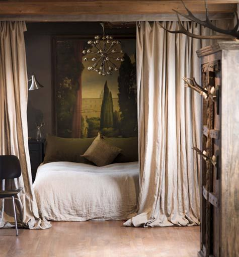 bed with curtains